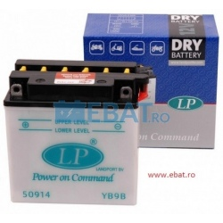 BATERIE AUTO LANDPORT DRY - Power on Command - moto 12V 9Ah Borna Inversa (dreapta -)