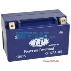 BATERIE AUTO LANDPORT GEL - Power on Command - moto 12V 7Ah Borna Inversa (dreapta -)